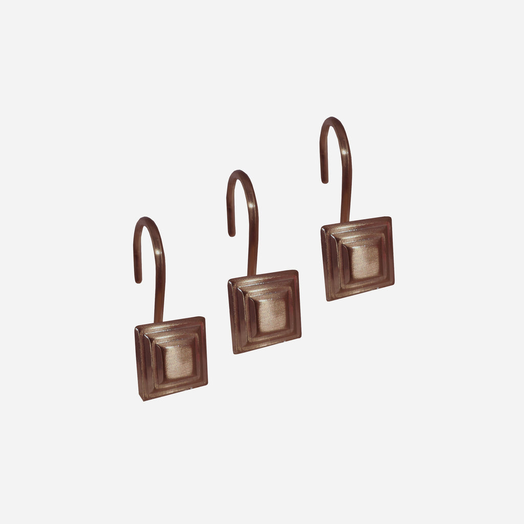 Bronze Stepped Square Shower Curtain Hooks