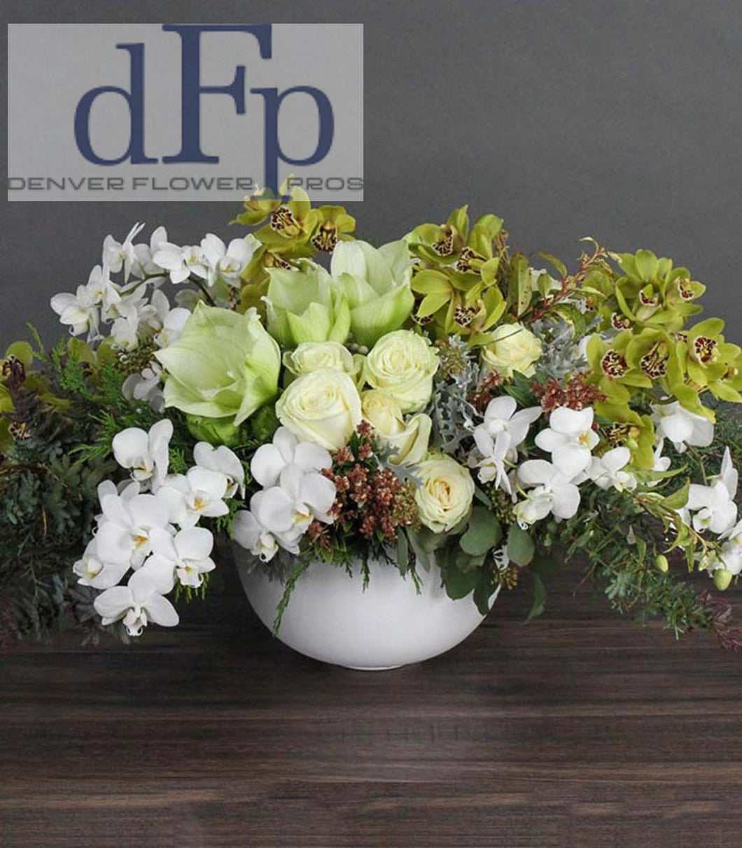 Exquisite Green And White Flower Arrangement Denver Flower Pros Llc