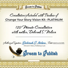 This certificate is a physical download of the awarded consultation with Self Publishing Coach Deborah S. Nelson who will help you with publishing your new life story.