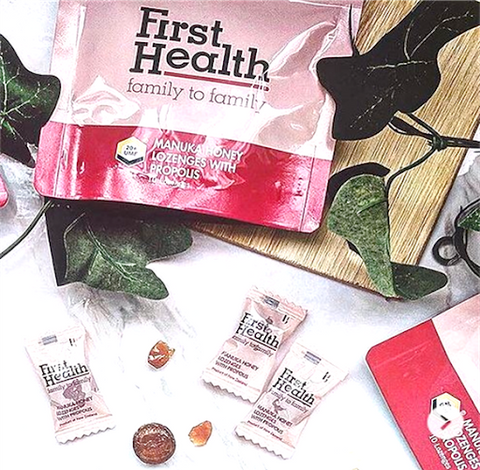 First Health's UMF20+ Manuka honey lozenges with propolis