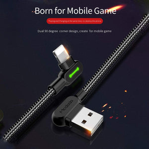 90 Degree Right Angle Design Gaming iPhone LED Nylon Braided Fast charging and data transfer cable
