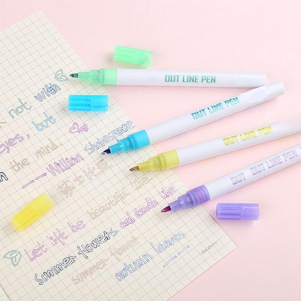 The Best Sale!Gift Card Writing&Drawing Double Line Outline Pen, 8 Colors