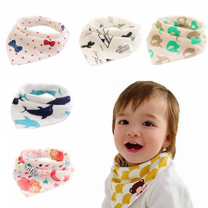 Baby Bibs Waterproof Triangle Cotton Cartoon Child Baberos Bandana Bibs Babador Dribble Bibs Newborn Slabber Absorbent Cloth - ourkids-shop