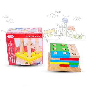 1set Wooden Column Shapes Stacking Toys Baby Preschool Educational Geometric Sorting Board Blocks Montessori Building Blocks - ourkids-shop