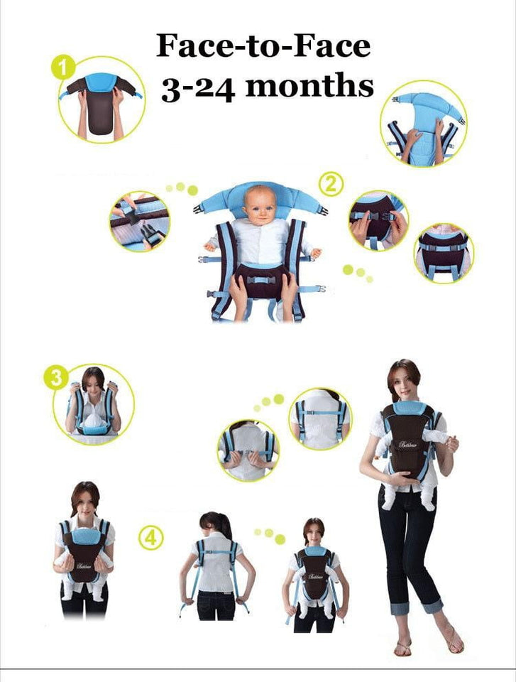 Beth Bear 0-30 months baby carrier, ergonomic kids sling backpack pouch wrap Front Facing multifunctional infant kangaroo bag - ourkids-shop