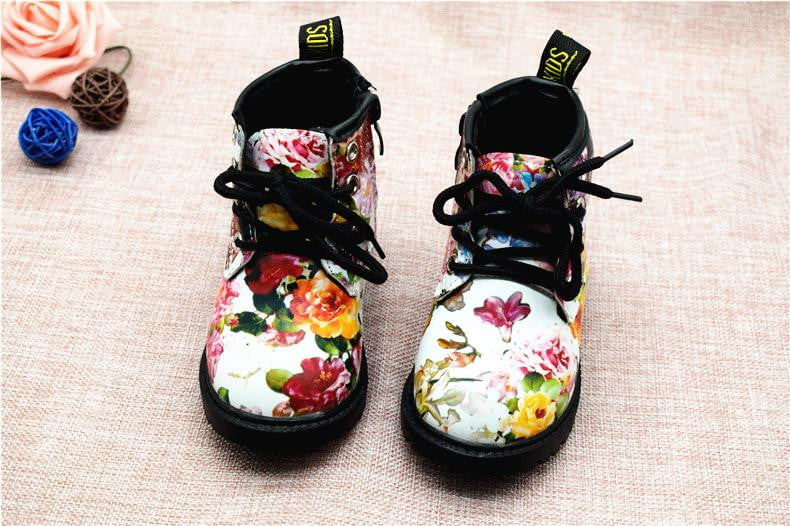 2018 Fashion Printing Children Shoes Girls Boots PU Leather Cute Baby Boots Comfy Ankle Kids Girl Martin Shoes Size 21-30 - OurKids.Shop