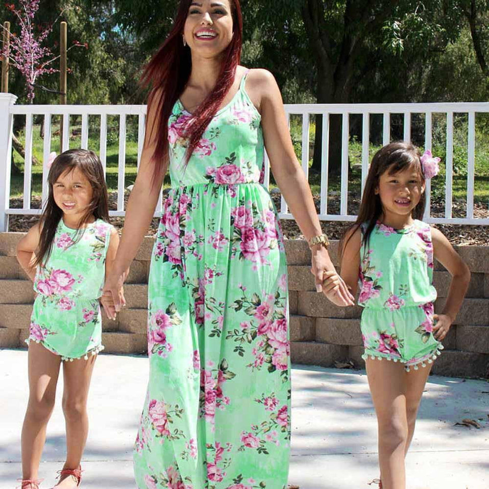 Mother daughter dresses Floral Dress Casual Family Clothes Girls Dress mother daughter summer printed dresses - ourkids-shop