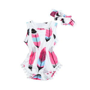 Baby girls romper Infant Kids Baby Girls Sleeveless Feather Romper Jumpsuit+Headband 2PCS Set YL - OurKids.Shop
