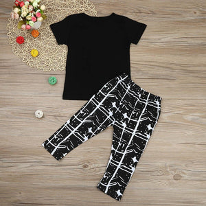 2PCS boys clothes set Toddler Kids Infant Baby Boy Letter T shirt Tops Pants Outfits children Clothes Set - ourkids-shop