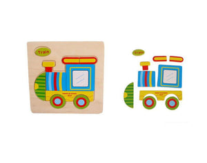 Train Wooden Puzzles for children kids toy Gift Train Puzzle Educational Baby Kids Wooden Toy - OurKids.Shop