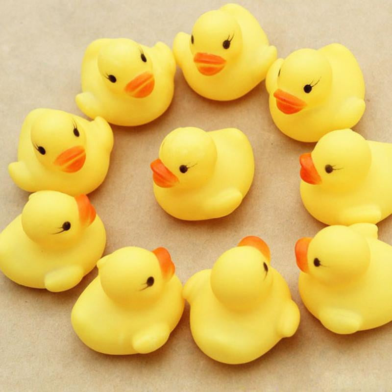 Hot  Baby toy Cute Small One Dozen (12) Bath toys shower water floating squeaky yellow rubber ducks baby toys water toys - OurKids.Shop