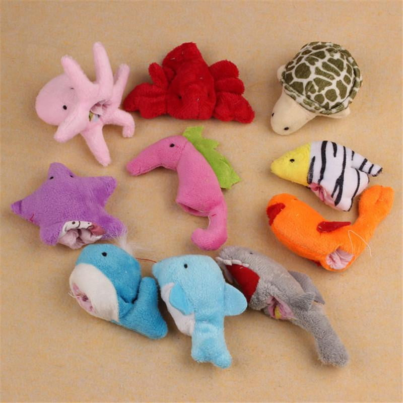 Yoner 10Pc Cute Soft Ocean Animal Puppet toys Baby Girls Boys Finger Puppet Plush Toy Finger toy Finger puppets - OurKids.Shop