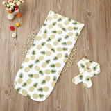 Newborn Infant Baby towel Swaddle Blanket Sleeping Swaddle Muslin Wrap Headband Set - OurKids.Shop