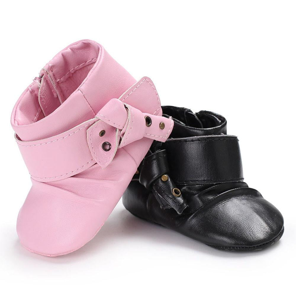 2017 Kids Baby Girl Fashion Toddler Shoes Children Pink Black Booties Zipper Pu Leather Black Buckle Ankle Boot Shoes - ourkids-shop