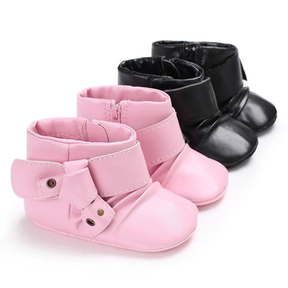2017 Kids Baby Girl Fashion Toddler Shoes Children Pink Black Booties Zipper Pu Leather Black Buckle Ankle Boot Shoes - OurKids.Shop