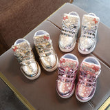 Kids Casual Lighted Shoes Girls Glowing Sneakers Children Star Print Shoes With Led Light Baby Girl Lovely Boots 2018 - OurKids.Shop