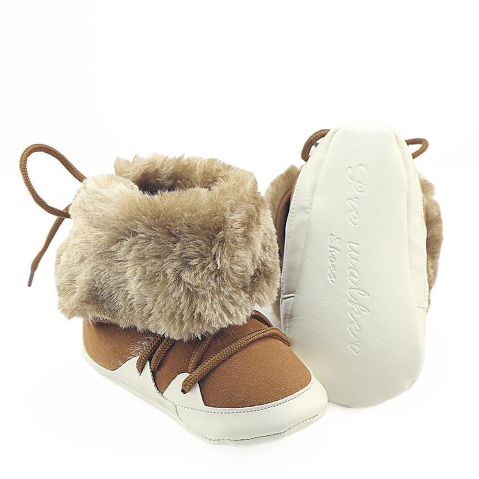 2018 Newborn Baby Boys Girls Shoes Winter Prewalkers Soft Sole Boots Shoes Infant Toddler Kids Faux Fur Lace Boots Crib Booty - OurKids.Shop