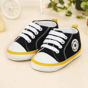 Infant Toddler Kids Canvas Sneakers Baby Boys Girls Anti-slip Soft Sole Crib Shoes Newborn Soccer Print Baby Prewalker 5 Colors - OurKids.Shop