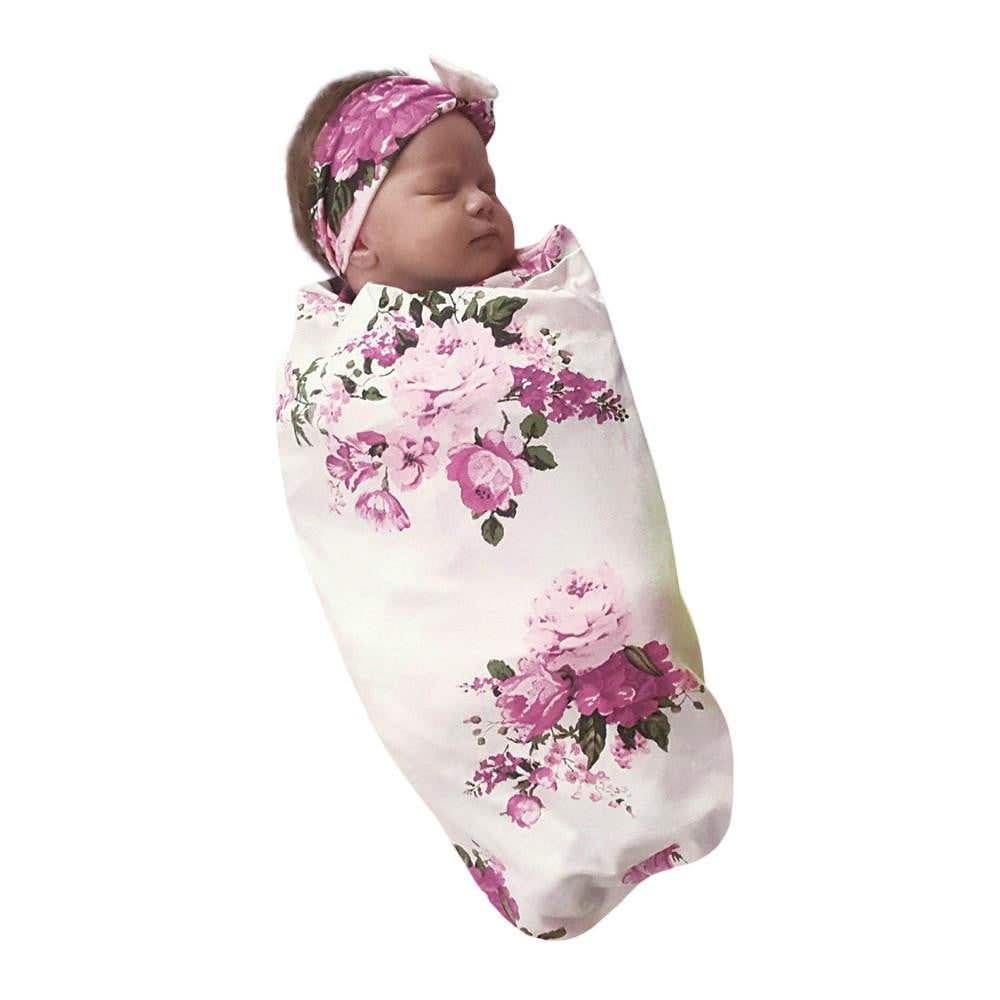 2018 Newborn Infant Baby Towel Swaddle Blanket Baby Sleeping Swaddle Muslin Wrap Headband Set - ourkids-shop
