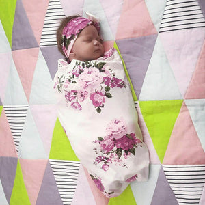 2018 Newborn Infant Baby Towel Swaddle Blanket Baby Sleeping Swaddle Muslin Wrap Headband Set - OurKids.Shop
