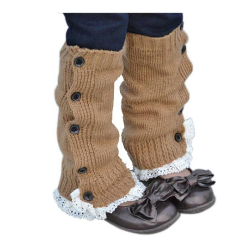 baby Lace flat leg warmers Acrylic Winter Kids Girl Princess Crochet Long Warmer Socks Knitted Lace Boot Cuffs Toppers Leg 32cm - OurKids.Shop