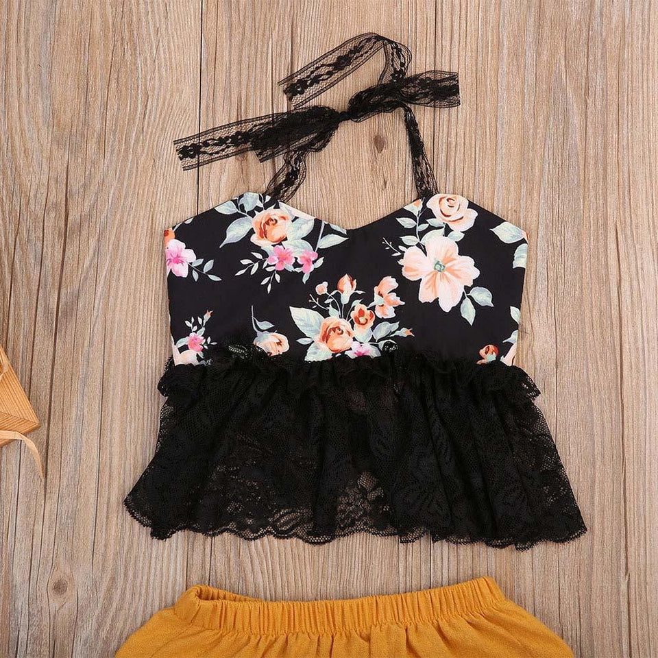 2018 Newborn Baby Girl Set Backless Lace Halter Floral Tops + Triangle shorts Outfit Clothes 2Pcs Sunsuit Clothing - OurKids.Shop