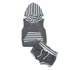 2017 Babies kids Striped Casual Hooded Clothing Set Summer Infant Baby Boy Kid Outfits Clothes Hoodie Vest Tops+Pants 2pcs Set - OurKids.Shop