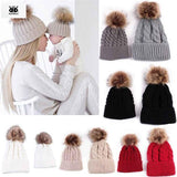Newborn Baby Hats for Girls 2017 Winter Knitted Crochet Mom and Baby Caps for Boy 2 Pcs Baby Boy Hat bonnet chapeau garcon - OurKids.Shop