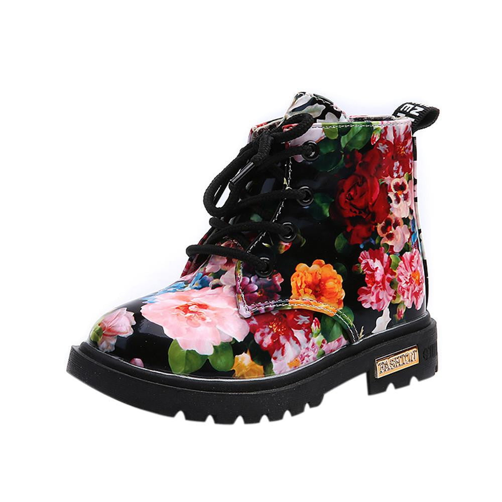 Cute Girls Boots 2018 New Fashion Elegant Floral Flower Print Kids Shoes Baby Martin Boots Casual Leather Children Boots