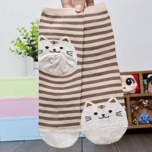 Superb! 6 Colors 3D Animals Striped Cartoon Socks Women Cat Footprints Cotton Socks Floor Freeshipping&Wholesale - ourkids-shop