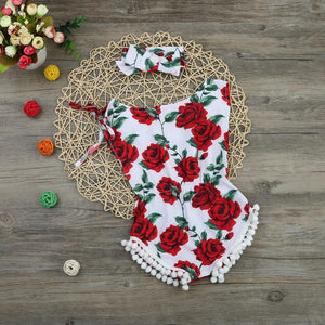 2018 new vintage floral cotton baby romper newborn baby girls pompom outfits infant newborn suit toddler kids clothing outwear - OurKids.Shop
