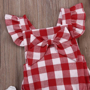 Baby Girl Clothes Rompers 2018 Summer Cute Kids Baby Plaid Romper+Hairpin set Newborn Toddler jumpsuit infantil baby costume - ourkids-shop