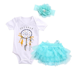 Summer 2018 Baby Girls Dreamcatcher Romper +Lace Tutu Skirt Party Tulle +Headband 3psc/Set Sunsuit Outfits - OurKids.Shop
