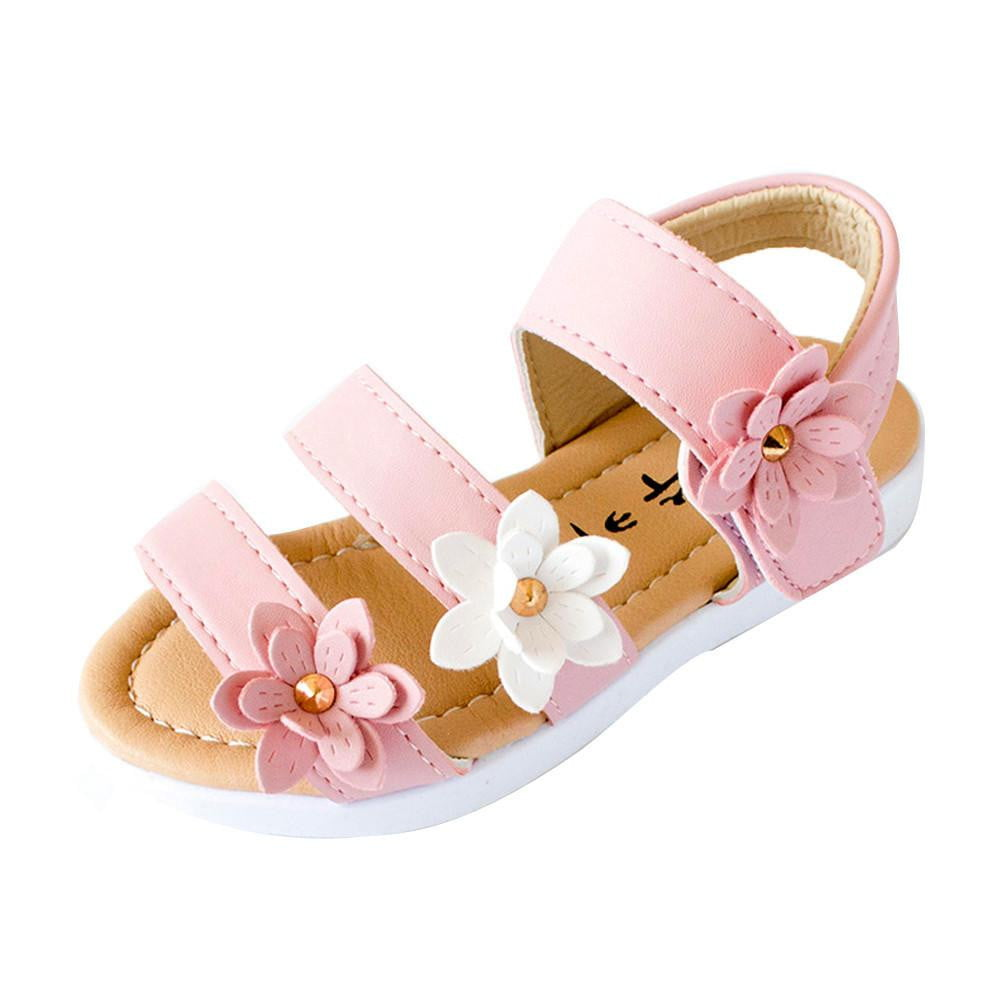 2018 Summer Style Children Sandals Girls Princess Beautiful Big Flower Shoes Kids baby Flat Sandals Baby Girls Roman beach Shoes - ourkids-shop