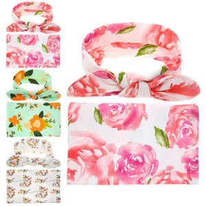 Baby Newborn Swaddled Set Swaddle & headwrap Infant Photography Props Cloth Towels Wrap Swaddle Blanket Girls Hair Accessories - OurKids.Shop