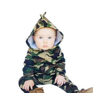 Baby Kids Boys Girls Infant summer clothes Hooded Zipper long sleeve Romper cotton casual Camouflage Jumpsuit one pieces - OurKids.Shop