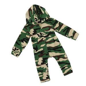 Baby Kids Boys Girls Infant summer clothes Hooded Zipper long sleeve Romper cotton casual Camouflage Jumpsuit one pieces - ourkids-shop