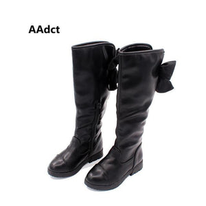2017 Winter children's shoes Princess Martin boots Girls plush over-the-knee boots Kids warm fashion leather boots Bow Black - ourkids-shop