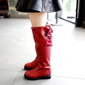 2017 Winter children's shoes Princess Martin boots Girls plush over-the-knee boots Kids warm fashion leather boots Bow Black - OurKids.Shop