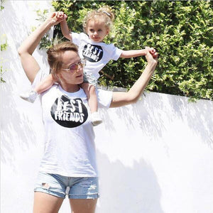 Family Match Clothes Mother Daughter Women Short Sleeve Letter T shirt Blouse Tops Family Clothes Outfit