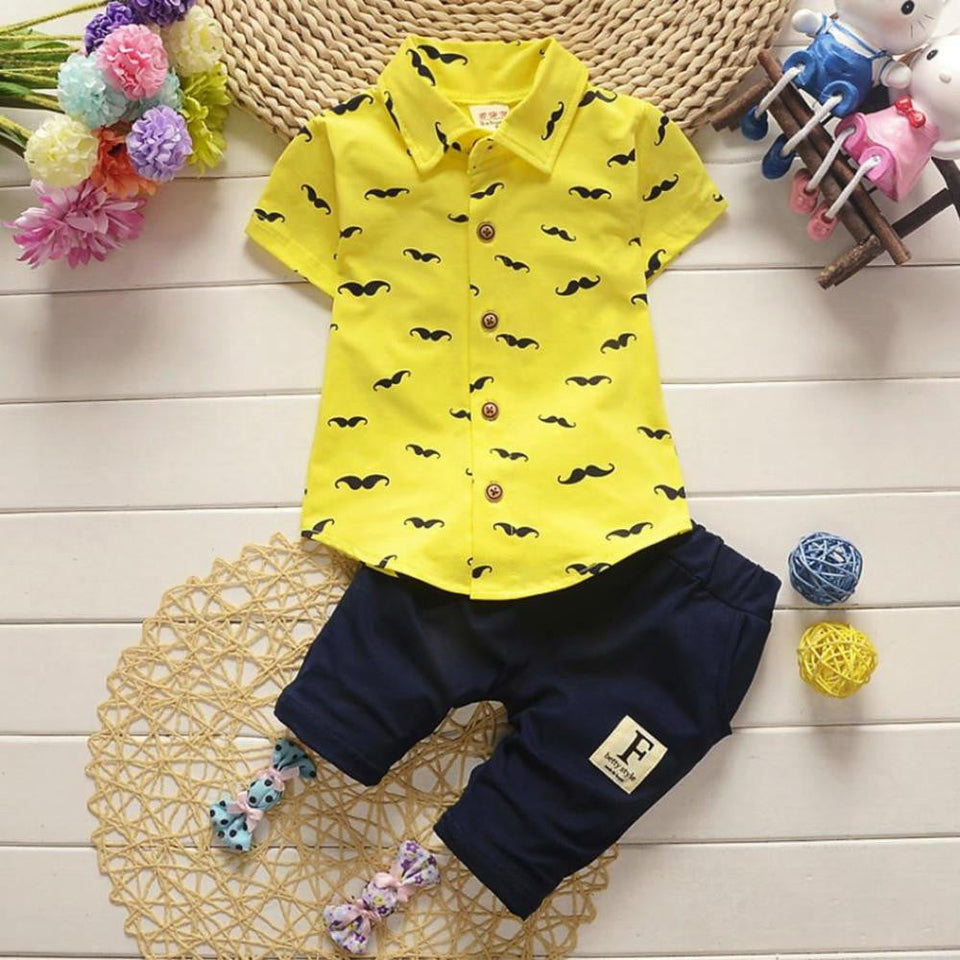 Baby Kids Boys set baby boy clothes gentleman trousers t-shirt suit Toddler Kids Baby Boys Beard T Shirt Tops+Shorts - OurKids.Shop
