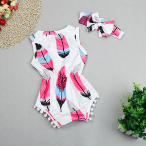 Baby girls romper Infant Kids Baby Girls Sleeveless Feather Romper Jumpsuit+Headband 2PCS Set YL - ourkids-shop