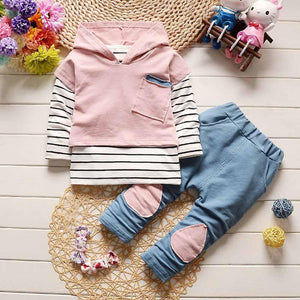 Toddler Kids Baby Boy Girls Outfits Hooded Stripe T-shirt Tops+Pants Clothes Set - OurKids.Shop