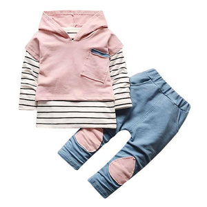 Toddler Kids Baby Boy Girls Outfits Hooded Stripe T-shirt Tops+Pants Clothes Set - ourkids-shop