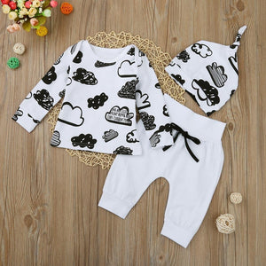 Newborn Infant Baby Girl Boy Cloud Print T Shirt Tops+Pants Outfits Clothes Set - OurKids.Shop