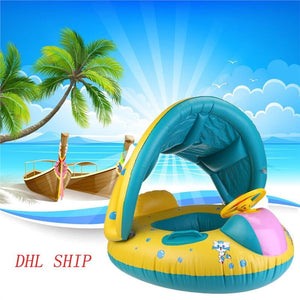 WINOMO Baby Swimming Float Boat Pool Floats with Sunshade Canopy for Kids Inflatable Pool Seat with Horn - OurKids.Shop