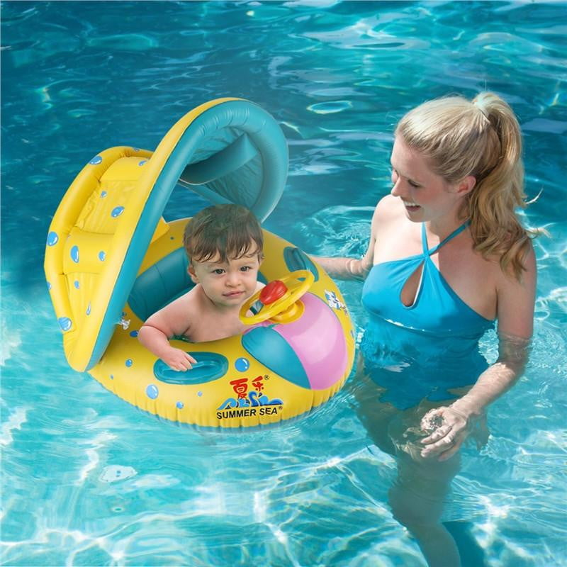 WINOMO Baby Swimming Float Boat Pool Floats with Sunshade Canopy for Kids Inflatable Pool Seat with Horn - ourkids-shop