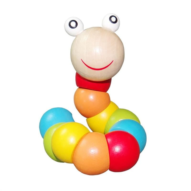 Cute Small Wooden Caterpillar Toy Colorful Twist Caterpillars Baby Kids Toy Mini Funny Child Worm Puzzle Toys