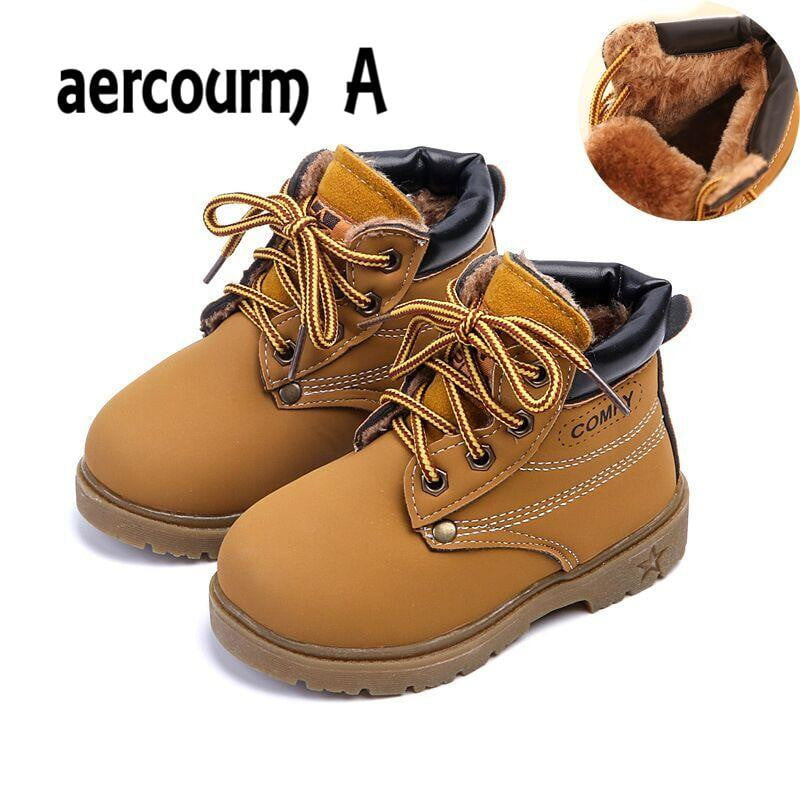 Spring Girls Boots Boys Plush Children Snow Motorcycle Boots Lace-Up Rome Martin Boots Winter Kids Shoes 21-30 aercourm A 2018 - ourkids-shop
