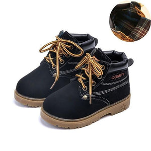 Spring Girls Boots Boys Plush Children Snow Motorcycle Boots Lace-Up Rome Martin Boots Winter Kids Shoes 21-30 aercourm A 2018 - OurKids.Shop